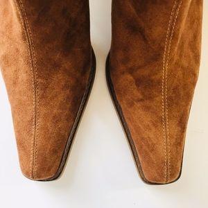 Shoes - Camel Color Mid Calf Boots Slight Fringe